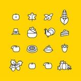 Set abstrakcjonistyczna dziękczynienie dnia ikona Wakacyjni symbole Zdjęcia Royalty Free