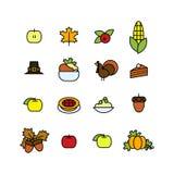 Set abstrakcjonistyczna dziękczynienie dnia ikona Wakacyjni symbole Obraz Stock