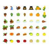 Set abstrakcjonistyczna dziękczynienie dnia ikona Wakacyjni symbole Obrazy Royalty Free