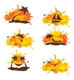 Set abstrakcjonistyczna ilustracja - Tropikalna podróż Zdjęcia Royalty Free