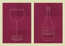 Set abstrakcjonistyczna kreskowa ilustracja, wina szkło i butelka na grun, Fotografia Stock
