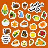Set abstrakcjonistyczna majcheru dziękczynienia dnia ikona Wakacyjni symbole Obraz Royalty Free