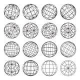 Set abstrakcjonistyczne kule ziemskie, wektorowa ilustracja Zdjęcia Stock