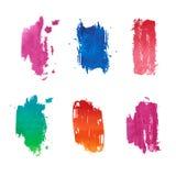 Set abstrakcjonistyczne pionowo barwione akwareli plamy ilustracja wektor