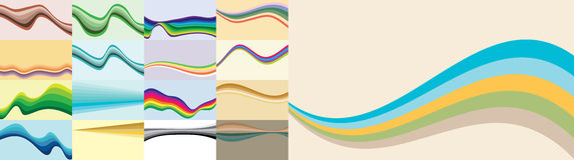 Set Abstrakcjonistyczne Proste fala Obrazy Royalty Free