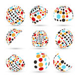 Set abstrakcjonistyczne wektorowe sfery Fotografia Stock