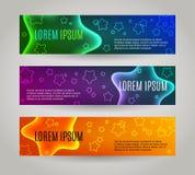 Set 3 abstrakcjonistycznego sztandaru z wieloskładnikowymi gwiazdami ilustracji