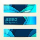 Set abstrakcjonistyczni błękitni sztandary trzy tło Fotografia Royalty Free