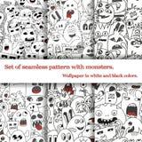 Set abstrakcjonistyczni bezszwowi wzory z doodle Obraz Royalty Free