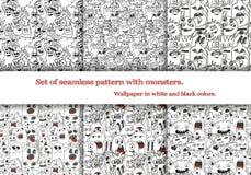 Set abstrakcjonistyczni bezszwowi wzory z doodle potworami Sześć bezszwowych wzorów na deskach w swatches i Zdjęcia Stock