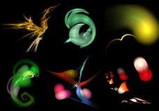 Set abstrakcjonistyczni fractals lubi fantastycznych zwierzęta Obrazy Stock