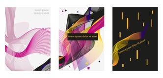 Set abstrakcjonistyczni geometryczni wzory bez, purpury, czerń, kolor żółty, pomarańcze barwi ilustracja wektor