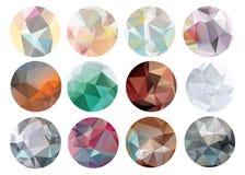 Set abstrakcjonistyczni krystaliczni okręgi w wieloboka stylu royalty ilustracja