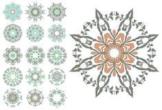 Set abstrakcjonistyczni kwiatów okręgi Zdjęcie Royalty Free