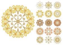 Set abstrakcjonistyczni kwiatów okręgi Fotografia Royalty Free