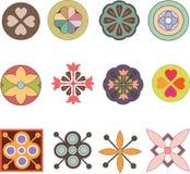 Set abstrakcjonistyczni kwiaty Zdjęcia Stock