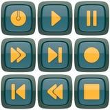 Set abstrakcjonistyczni odtwarzacza medialnego 3d guziki Fotografia Royalty Free