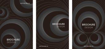 Set abstrakcjonistyczni plakaty z geometrycznymi okręgami zdjęcie royalty free