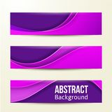 Set abstrakcjonistyczni purpurowi sztandary trzy tło Obrazy Royalty Free