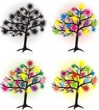 Set abstrakcjonistyczny drzewo Zdjęcia Royalty Free