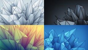 Set abstrakcjonistyczny fantastyka naukowa poligonalni 3D kształty Zdjęcia Royalty Free