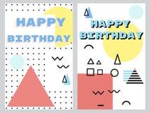 Set abstrakcjonistyczny kartka z pozdrowieniami wszystkiego najlepszego z okazji urodzin ilustracja wektor