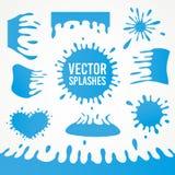 Set abstrakcjonistyczny wektorowy sztuka atramentu pluśnięcie splatters Zdjęcia Stock