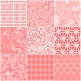 Set 9 abstrakcjonistycznych bezszwowych wzorów Zdjęcie Stock