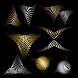Set abstrakt złota i srebna linia symbole royalty ilustracja