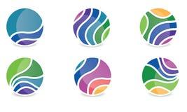 Set Abstrakta Sfera Logo Zaokrąglający Globle Kurenda Logo Szablon Nowożytny Firma loga symbolu wektor royalty ilustracja