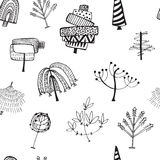 Set abstrakte Bäume Handgemachte Tinte Stockfotos