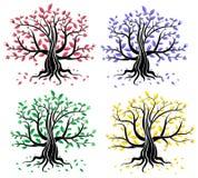 Set abstrakte kreative Bäume Stockfotografie