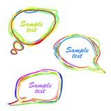 Set abstrakte mehrfarbige Spracheluftblasen Stockfotografie