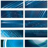 Set abstrakter blauer Hintergrund Stockbilder
