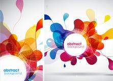 Set abstraktów barwioni tła z liśćmi Zdjęcia Stock