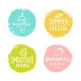 Set Abzeichen Smoothie, Sommer Special Lizenzfreies Stockfoto