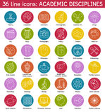 Set of academic disciplines icons Stock Photo