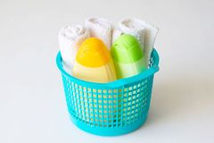 Set of accessories for baby,baby care products stock images