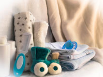 Set of accessories for baby things for child care. maternal conc. Ern about the baby. closeup Royalty Free Stock Image