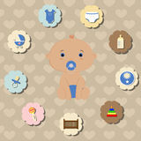 Set of accessories for the care of newborn baby boy Royalty Free Stock Photography
