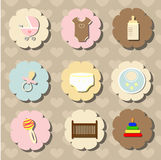 Set of accessories for the care of newborn baby Stock Images