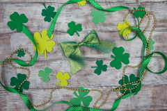 Set of accessories for Day of St. Patricks bow and clover Stock Photo