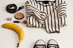 Set-a  of accessories and fashionable stylish clothes Royalty Free Stock Photo