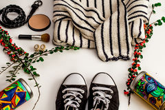 Set-a  of accessories and fashionable stylish clothes Stock Photos