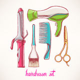 Set with accessories hairdressing - 2 Stock Photography