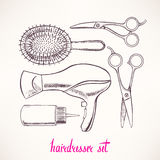 Set with accessories hairdressing - 2. Set with accessories hairdressing. hand-drawn illustration - 2 stock illustration