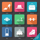 Set with accessories Icons. Vector illustration. EPS 10 stock illustration