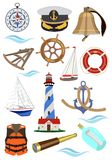 Set of accessories for ships and yachts. Vector illustration. royalty free illustration