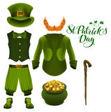 Set of accessories for St. Patricks Day. Green suit, hat, pot of gold, red beard, boots, pants, clover Royalty Free Stock Image