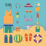 Pattern of accessories for summer trip vector illustration